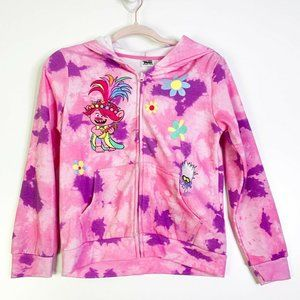 Trolls Girls Faux Fur Hooded Full Zip Furry Jacket